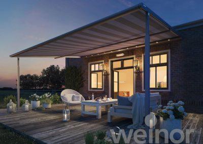 Toldo pergola veranda plaza viva weinor luz LED